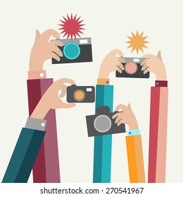 Vector  illustration, Modern flat photographers hands with devices take photo