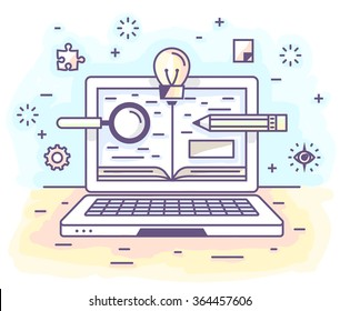 Vector illustration in modern flat style. Online education, distance learning,personal laptop, valuable knowledge.