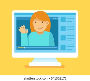 Vector illustration in modern flat style - video blogger concept - computer screen with video player  - female vlogger broadcasting on his personal channel