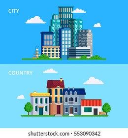 Vector illustration in modern flat style. Big city with skyscrapers and small town or country.