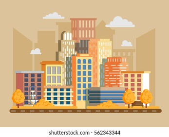 Vector illustration in modern flat style. Cityscape with a lot of sky scrapers in autumn. Buildings and business center.