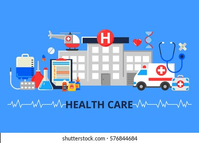 Vector illustration in modern flat style. Web banner with hospital, ambulance and a lot of medical things. Health care concept.
