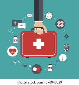 Vector illustration in a modern flat style, health care concept. Hand with medical bag and medical icons. Flat vector illustration.