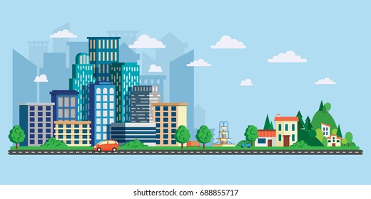 Vector illustration in modern flat style, urban landscape with large skyline and suburb with private houses on a background hills. Street and asphalt road with cars. City life