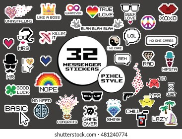 vector illustration for modern funny stickers for messenger or social media in pixel art style and different slang expressions and acronyms and memes