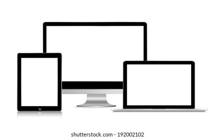 vector illustration of modern gadgets black on a white background