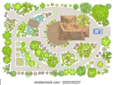 Vector illustration. Modern garden design. Top view. Landscape design. View from above.