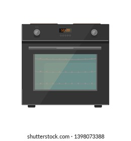 Vector illustration of modern gas stove with timer. Flat style. Isolated on white.