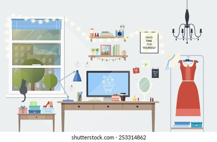 Vector illustration of modern girl workplace in room. Creative office workspace of blogger with elements, objects. items, equipment. Flat minimalistic style, modern colors, icons collection.