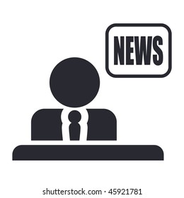 Vector illustration of modern glossy icon depicting a live reporter