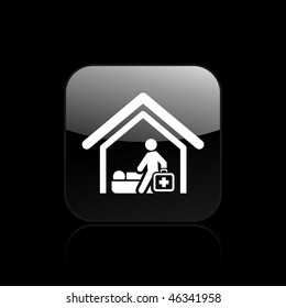 Vector illustration of modern glossy icon depicting a physician home visit