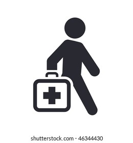Vector illustration of modern glossy icon depicting a doctor walks