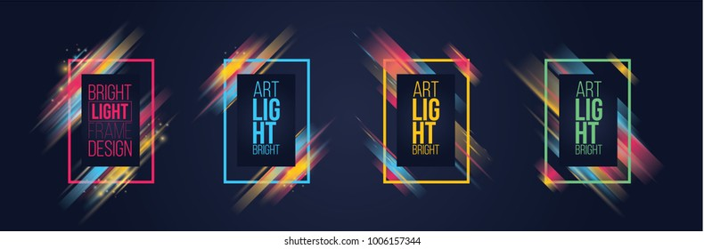 vector illustration. modern graphics bright dynamic neon stripes stylish colorful frame. element for design business cards, invitations, gift cards, flyers and brochures