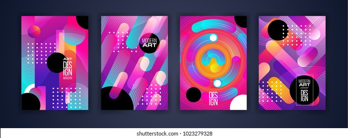 vector illustration. modern graphics bright dynamic neon stripes stylish colorful frame. design for decoration of brashur, flyers, envelope, cards. paper size a4. elements of design in a modern style