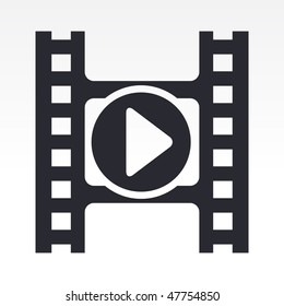 Vector illustration of modern icon depicting a play button of a video player