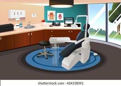 A vector illustration of modern interior of a dentist office