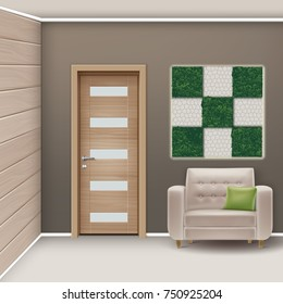 Vector illustration of modern interior room with furniture and vertical garden in minimalist style