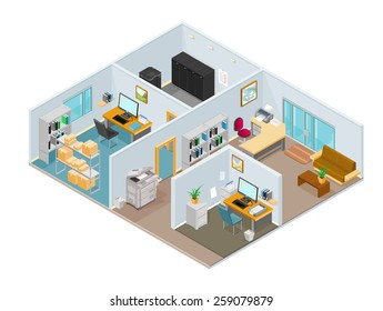 A vector illustration of a modern isometric office interior. Isometric office interior. Isometric open plan office.