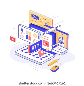 Vector illustration in modern isometric style. Curved lines, cartoon design. Programmer's laptop, website creation workflow