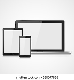 vector illustration modern laptop, phone, tablet on  a white background