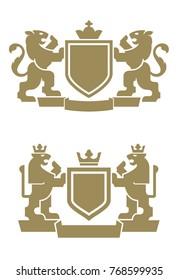 Vector illustration of modern lion crest / 2 lions