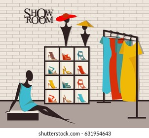Vector illustration modern loft interior showroom fashion. Mannequin, furniture, hangers for women dresses in the flat style. Closet with clothes, shoes and hats