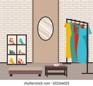 Vector illustration modern loft interior showroom fashion. Furniture, hangers for womens dresses and the mirror in the flat style. Closet with clothes and shoes