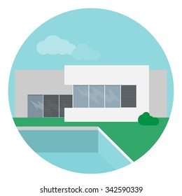Vector illustration of a modern minimalistic house with swimming pool in a flat design.