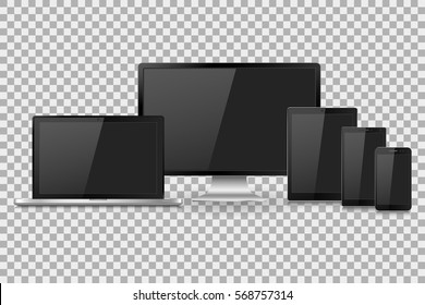 Vector illustration modern monitor, laptop, tablet and mobile phone with empty white screen. Various modern electronic gadget on isolate background, EPS10
