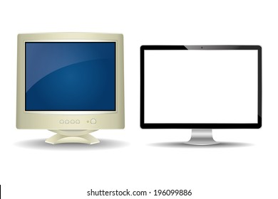 vector illustration of modern and old monitor on a white background