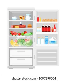 Vector illustration of modern opened refrigerator full of food. Lot of products in the fridge, fruits and vegetables, milk and eggs, healthy food in flat style.