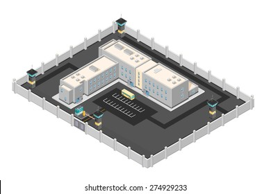 A vector illustration of a modern prison penitentiary. Isometric prison jail building. Justice and Prison system concept.