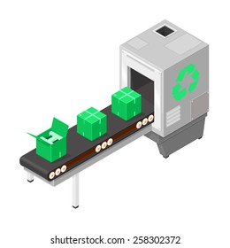 A vector illustration of a modern production line recycling goods Recycling manufacturer. Recycled products.