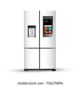 Vector illustration of  modern realistic fridge on white background.  SMART FRIDGE.