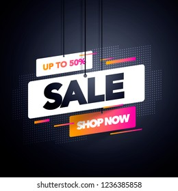 Vector Illustration Modern Sale Label Tag Banner Template Design, Big Sale Special Offer. For Black Friday, Offer, Discount, Shops
