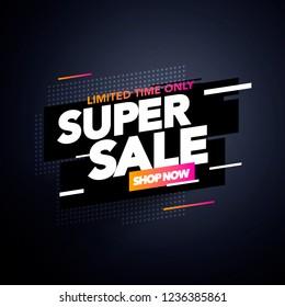 Vector Illustration Modern Sale Label Tag Banner Template Design, Big Sale Special Offer. For Black Friday, Offer, Discount, Shops