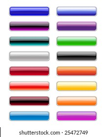 Vector illustration of modern, shiny, rectangle buttons.