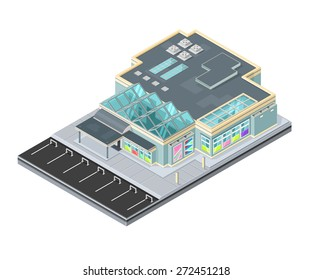 A vector illustration of a modern shopping center. Isometric Shopping mall building illustration.