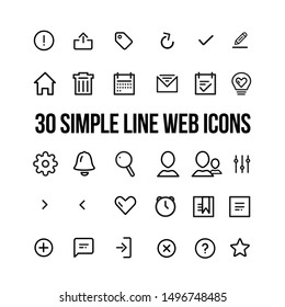 Vector illustration of modern simple line icons set for web and mobile. Icon of home, notification, favorite, search, profile, contacts, setting, filter, ideas, organizer, checklist, calendar, alarm.