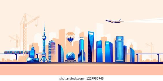 Vector illustration of modern smart city, traffic, urban and air traffic, bridges and estokadas railway, horizontal banner