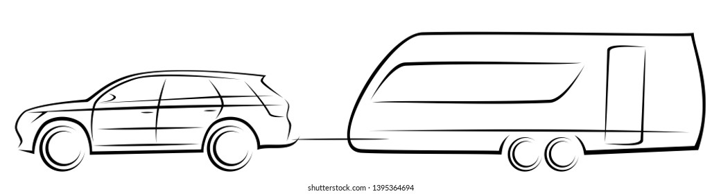 Vector illustration of a modern SUV car towing an aerodynamic trailer for camping and adventures during the journeys