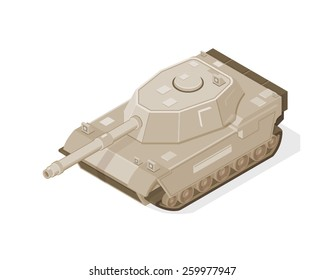 A vector illustration of a modern tank. Isometric Tank. Isometric Tan colored for desert warfare.