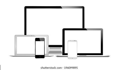 vector illustration of modern technology on white background