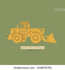 Vector illustration of a modern tractor or harvester. Simple, flat, green, retro style. Model of equipment for agro-industrial complexes is relevant. Agricultural business element.