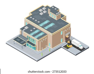 A vector illustration of a modern warehouse distribution center. Isometric Warehouse factory. Isometric Industrial outlet factory facility.