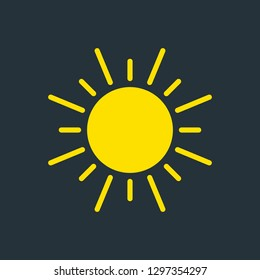 vector illustration of modern weather icon. Flat symbols on dark background. Picture of sun.