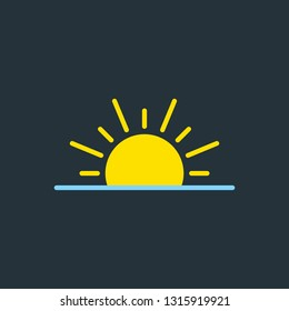 vector illustration of modern weather icons. Flat symbols on dark background. Picture of sundet and sunrise.