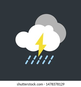 vector illustration of modern weather icons. Flat symbols on dark background. Picture of clouds, rain and lightning.