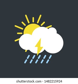 vector illustration of modern weather icons. Flat symbols on dark background. Picture of sun, clouds, rain and lightning.