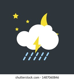 vector illustration of modern weather icons. Flat symbols on dark background. Picture of moon, clouds, rain and lightning.